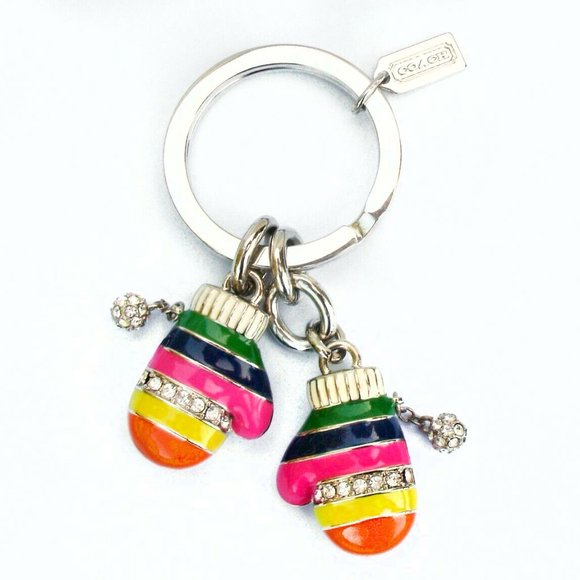 Coach Legacy Stripe Multi-Color Mitten Keychain